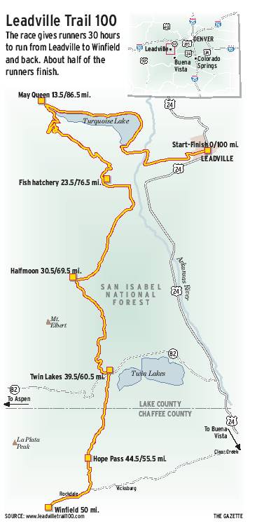Leadville Trail 100 mile course map.