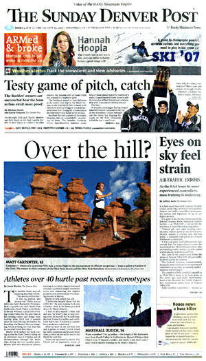 Front page of the Sunday, 10/21/2007, Denver Post