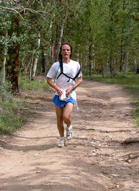 Matt Carpenter coming down from the Hope Pass summit, at mile 48 in the Leadville Trail 100 race