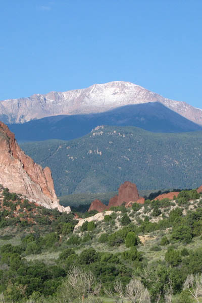 Pikes Peak as viewed from the Garden of the Gods